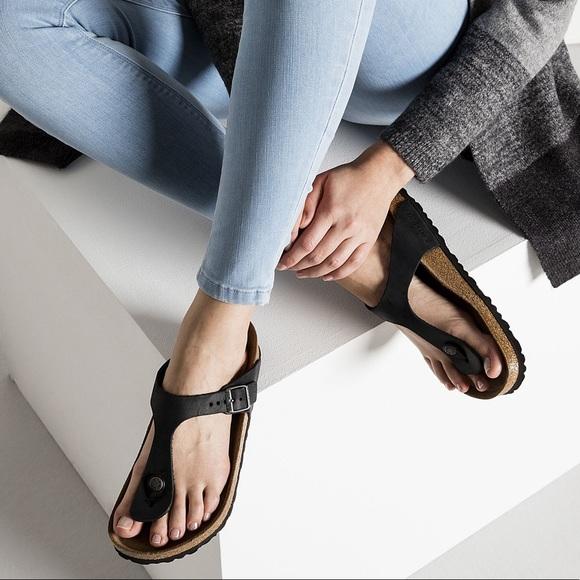 af3f573364bf6a Birkenstock Shoes - Birkenstock Gizeh Birko Flor Black Sandals
